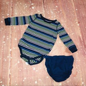 12M Baby Outfit Stripe Onesie And Diaper Cover